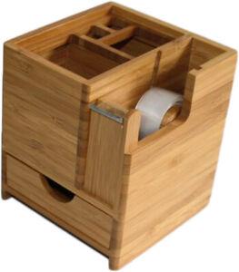 Schreibtisch Organizer Schreibtischständer Stiftehalter Holz Klebefilmabroller 1