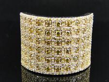 Pave Designer Fashion Ring 3 Ct Mens Yellow Gold Round Cut Yellow Diamond