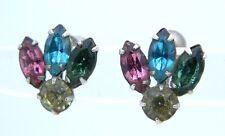 VTG 1930s CORO Silver Tone Multi-Color Pastel Rhinestone Screw Back Earrings