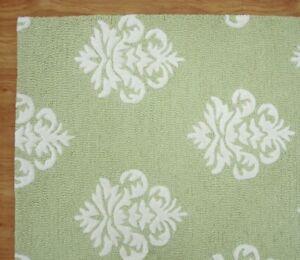 Damask Green White Modern Loop Handmade Hand-Tufted 100% Wool Area Rug Carpet.