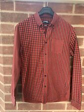 Desigual Man Regular Red Check Long Sleeved Shirt Size S