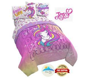 JoJo Siwa Unicorn Dream Girls Full Comforter & Sheet Set 5 Piece Reversible