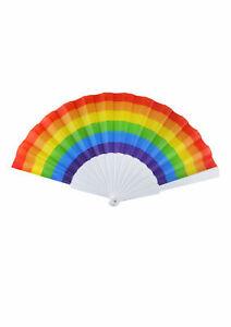 New Rainbow Pride Folding Fans w/ Plain Plastic Handles Fancy Dress Accessory UK