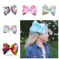 8 inch Baby Girls Rainbow Bows Hair Clip large rib Grosgrain Ribbon Bow Hairpin