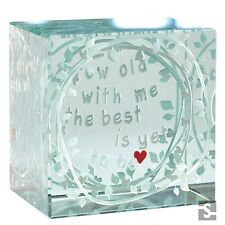 Spaceform Glass Layered Paperweight Grow Old With Me Keepsake Xmas Gift Box 1885
