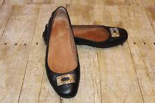 Coach Black Vernon Ballet Flat Leather Slip On Driving Shoes Medallion Size 7B