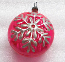 Vintage Russian USSR Silver Glass Christmas Ornament Tree Decoration Snowflake