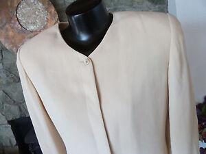 Linda Allard / Ellen Tracy Gorgeous Cream 100% Silk Pant Suit Simple Classic