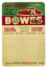 BOWES TAXI Advertising TELEPHONE CARD NORTH YORK ( TORONTO ) AREA 1950s