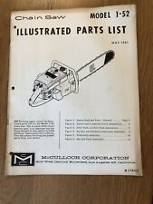 Vintage Mcculloch Illustrated Parts List Model 1-52 Chainsaw