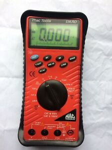 Mac Tools Digital Multimeter  Em710 With Accessories And Instructions