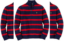 Ralph Lauren Boys French Striped Ribbed Knit Top Pullover Sweater Size Xl 18-20