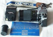 Olympus OM10 35mm film camera with zoom lens, flash, strap and instructions READ