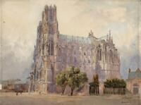RICHARD HENRY WRIGHT (1857-1930) Watercolour Painting REIMS CATHEDRAL 1909