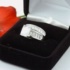 4.5 CT .925 STERLING SILVER EMERALD CUT WEDDING ENGAGEMENT RING SET FREE BOX