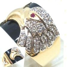 GOLD 14k Mens EAGLE Ring real Onyx Simulated Diamond ruby 10 8 9 11 12