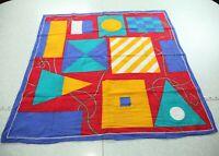 "Vintage 80s 90s Colorful Square Cotton Scarf Nautical Flags Geometric 28"" Neck"