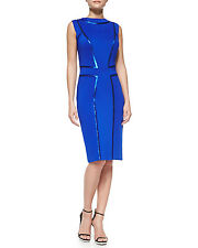 Tadashi Shoji Mustic Blue Sequin-Seamed Elegant Sheath Cocktail Dress.NWT P/S