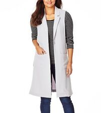 Beautiful Longline Silver Grey Trench Ladies Vest- Size 18 Free Post Aus