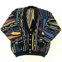 Vintage Men's Geccú Cosby Coogi Style Sweater 80s 90s Retro Jumper Cardigan 3D