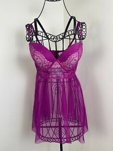 NWT Victoria's Secret Purple Dreamy Bustier Babydoll Lingerie Size 36D