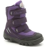 Clarks SNOW DAY Girls Purple Water Resistant TEX Snow Boots 7 - 5 Jun F Fit BNIB