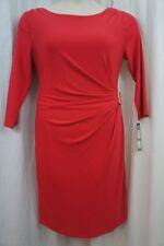 Tahari ASL Dress Sz 12 Coral LILIAN Jersey 3/4 Sleeve Career Cocktail Dress
