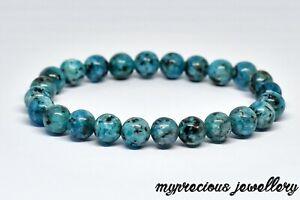 Natural Blue Dot Jasper Bracelet 8mm Beaded Gemstone Reiki Chakra UK Gift