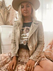 Jaase Women's Jodi Faux Suede Cotton Jacket - Mushroom Beige Bohemian Boho Lace