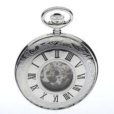 Jean Pierre Sterling Silver Half Hunter Skeleton Pocket Watch, ref G155