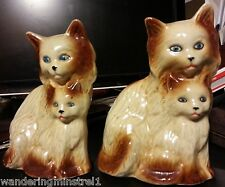 "Set of 2 Beautiful Vintage Ceramic Cats Made in Brazil 5.75"" Tall 374058"