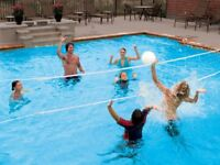 SwimWays Poolside 24' Volleyball Net Swimming Pool Water Game Set | 00801