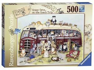 Ravensburger - Crazy Cats on the Coach Trip 500pc - Jigsaw Puzzle