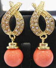 edelste 18KGP 12mm rosa Schale Perle Hochzeit Partei Schmuck Ohrringe