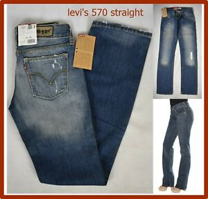levis 570 jeans levi's da donna ragazza vita bassa strappati gamba dritta w27 41