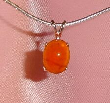 BEAUTIFUL CABOCHON 10MM x 8MM OVAL ORANGE CARNELIAN STERLING SILVER PENDANT
