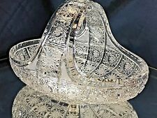 "Crystal Glass Bowl Basket 6"" Hand Cut Fruits Sweets Nuts Bohemian Vintage Design"