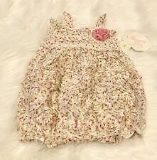 Nwt Nanette Baby ~Beautiful~ Floral Rosette Bubble Romper Size 6-9 Months