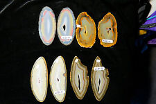RARE! 2 BRAZIL GEODE SLABS FROM SAME STONE STAIN GLASS WIND CHIMES W18..21-4