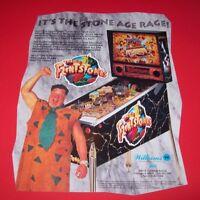 Williams FLINTSTONES Original 1994 Arcade Pinball Machine Flyer Yabba Dabba Doo