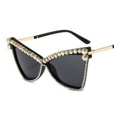 Cat Eye Sunglasses Women Fashion Hand-made Rhinestone Vintage Shades Eyewear