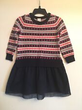 BABY GAP Girls Navy Blue Fair Isle Tulle Skirt Sweater Dress  SIZE 2T NWT