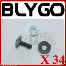 34X 6mm Fairing Plastics Guard Bolts Nuts Set 50 110cc 125cc Quad Dirt Bike ATV