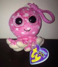 """NEW Ty Beanie Boo Boos Baby Plush Toy Ollie the Octopus 3"""" Clip Keychain RARE"""