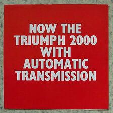 TRIUMPH 2000 AUTOMATIC Car Sales Brochure 1965 #362/1264/Aut