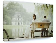 STUNNING LAKE POND BENCH LANDSCAPE CANVAS PICTURE PRINT CHUNKY FRAME #3787