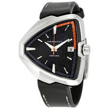 Hamilton Ventura Elvis80 Black Dial Black Leather Mens Watch H24551731