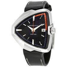 Hamilton Ventura Elvis80 Black Dial Black Leather Mens Watch H24551731