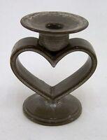 Kerzenständer Keramik Herzform Durchmesser 9 cm Höhe ca. 14 cm braun