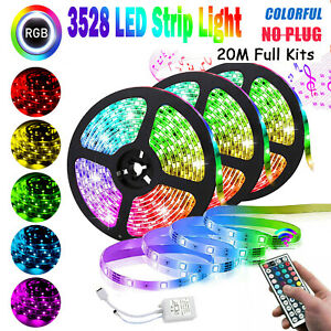 RGB Flexible LED Strip Light 3528 66FT SMD Remote Fairy Lights Room TV Party Bar